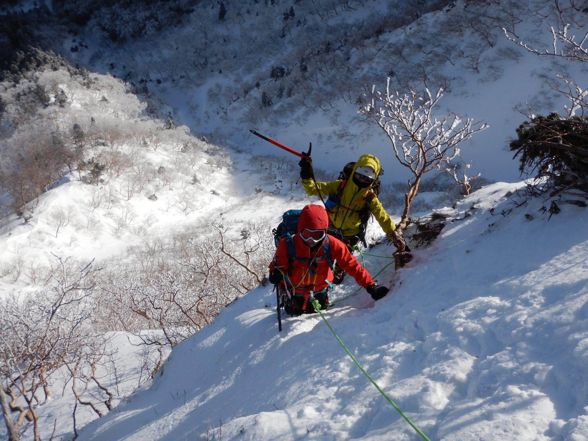 アイゼン+ピッケル講習と赤岳南峰リッジ+阿弥陀岳北稜登攀3日間